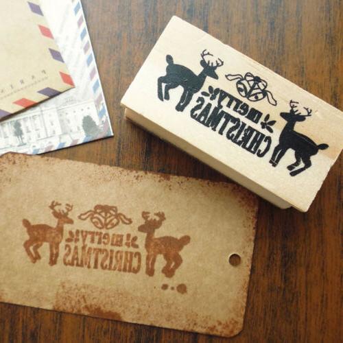 merry christmas stamp diy elk wood H&