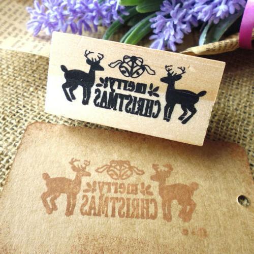 merry deers wooden stamp diy wood H&