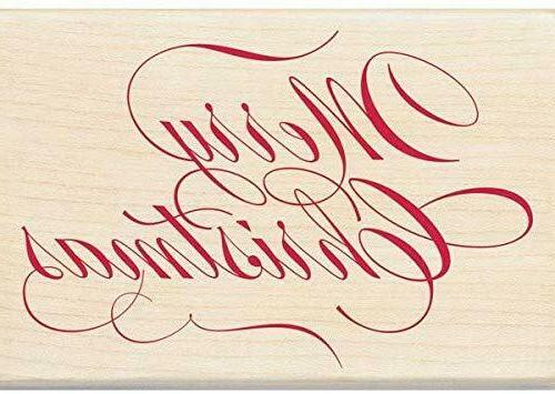 merry christmas wood rubber stamp script