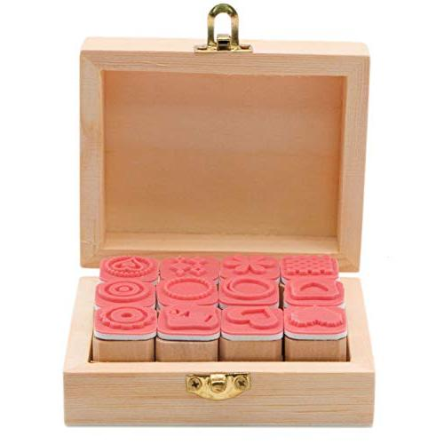JETEHO Set of Mini Cute Rubber Stamps, Set Children Letters Diary Wooden Box