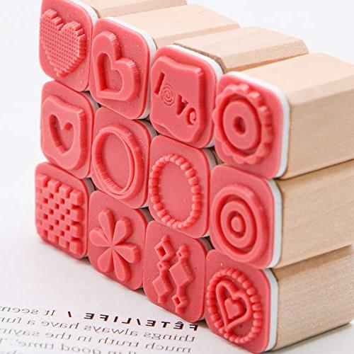 JETEHO Set of Mini Cute Wooden Stamps, Set for Diary Craft Scrapbooking Wooden