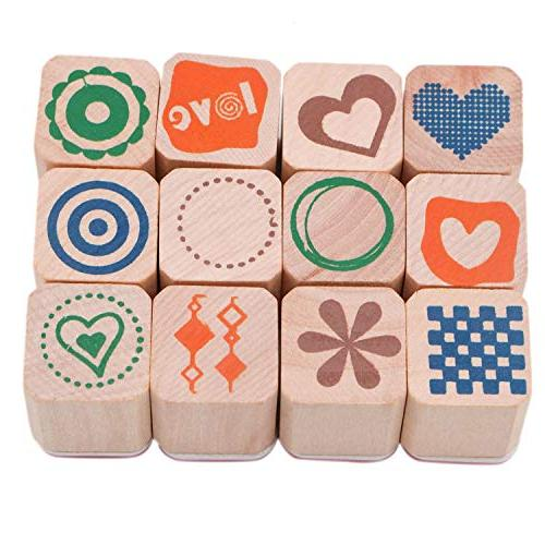 JETEHO Set 12 Mini Wooden Rubber Stamps, Diary Stamps Set Children Diary Wooden Box