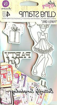 Mixed Media Doll Cling Rubber Stamps-Party Girl Set 4X6