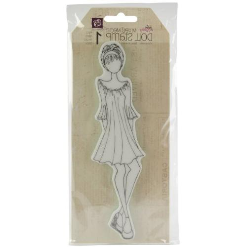 Mixed Media Doll Rubber Stamps-Doll With Dress 7.25