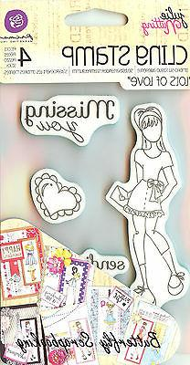 Mixed Media Doll Cling Rubber Stamps-Lots Of Love Set 4X6