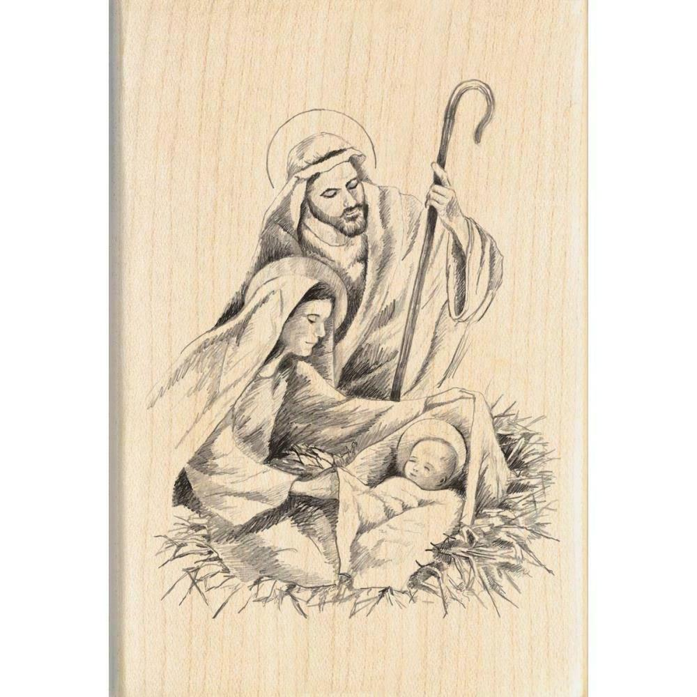 mounted rubber stamp 2 75 x4 nativity