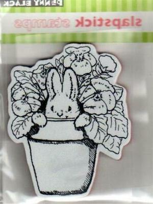 New Cling Penny Black RUBBER STAMP Easter Pansy Bunny Spring