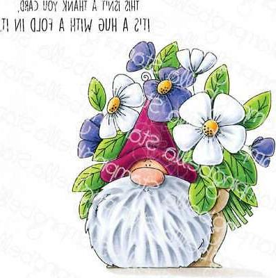 new cling rubber stamp flowery gnome set