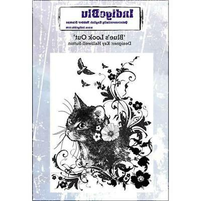 New Cling IndigoBlu RUBBER STAMP XL BLUE'S LOOK OUT KITTY CA
