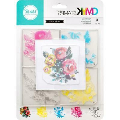 NEW American Crafts CMYK clear layered rubber stamp set ROSE