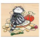 New Penny Black EMBROIDERED Wood Rubber Stamp Kitty Cat Stit