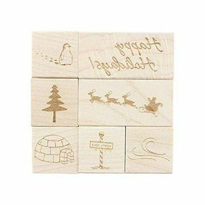 NEW ExcelMark Holiday Engraved Wood Rubber Stamp Set | 7 Pie