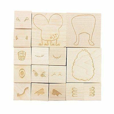 NEW ExcelMark Monster Engraved Wood Rubber Stamp Set | 16 Pi
