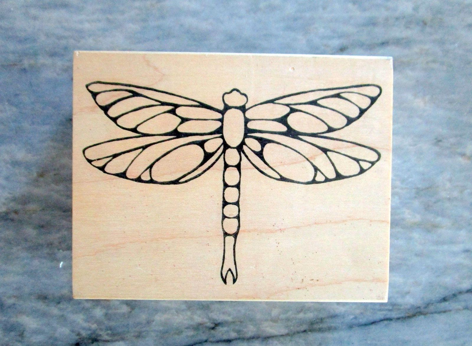 new large dragonfly rubber stamp outlines emboss