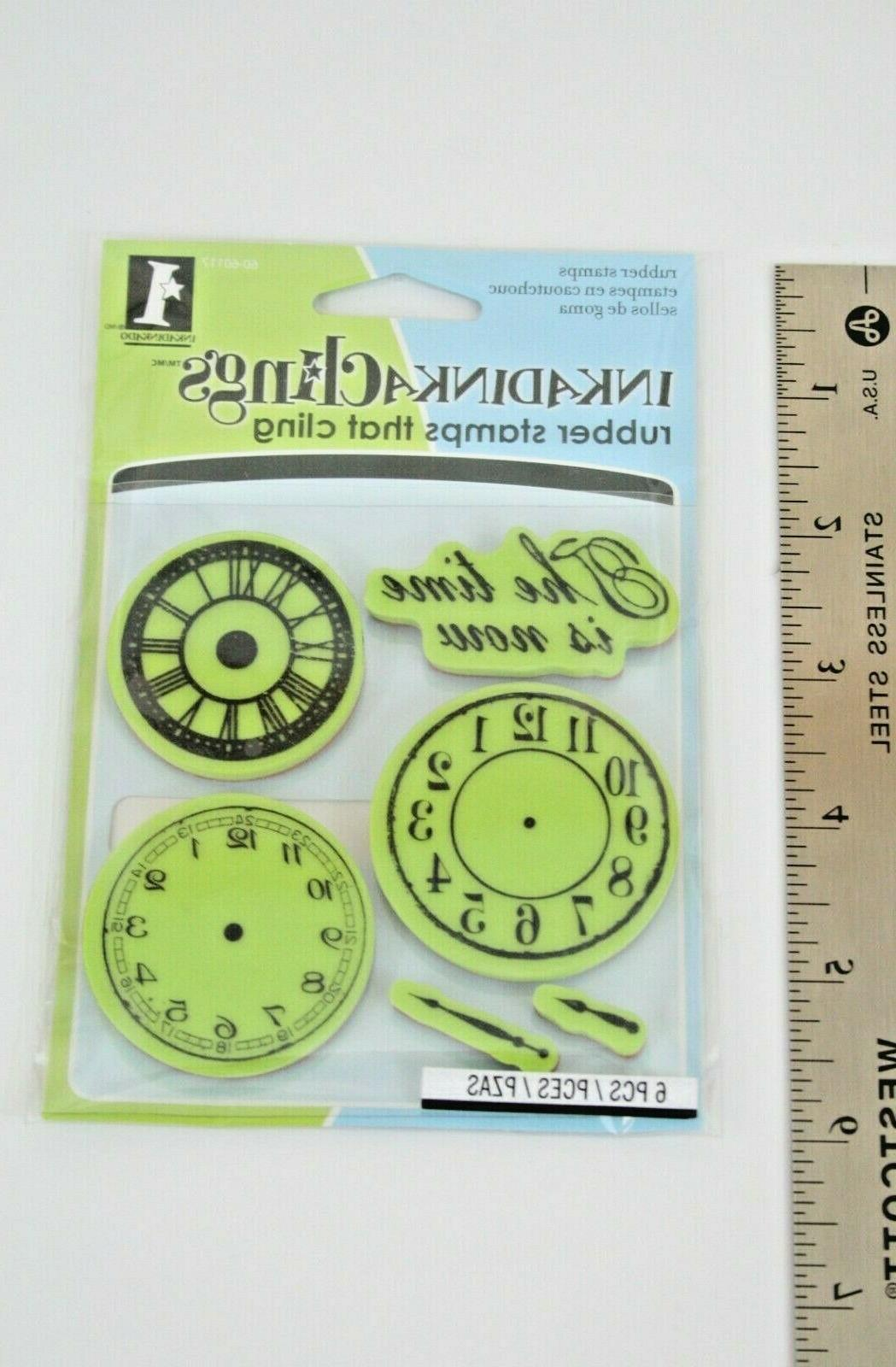 new rubber cling stamp set clocks nothing