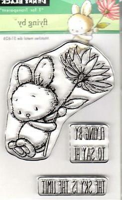New Penny Black Rubber Stamp clear FLYING BY SET free USA sh