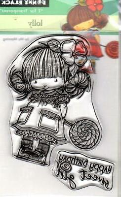 New Penny Black Rubber Stamp clear LOLLY BIRTHDAY GIRL  free