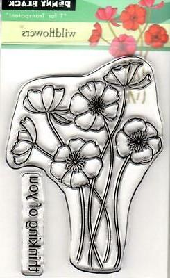 New Penny Black Rubber Stamp clear WILDFLOWER THINKING OF YO