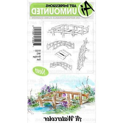 New ART IMPRESSIONS RUBBER STAMP Cling  watercolor  BRIDGE S