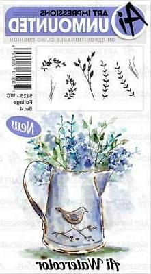 New ART IMPRESSIONS RUBBER STAMP Cling watercolor FOLIAGE SE