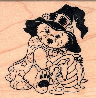new rubber stamp halloween bear honey pot