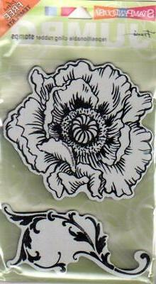 New Stampendous Rubber Stamp  JUMBO POPPY FLOWER SET free us