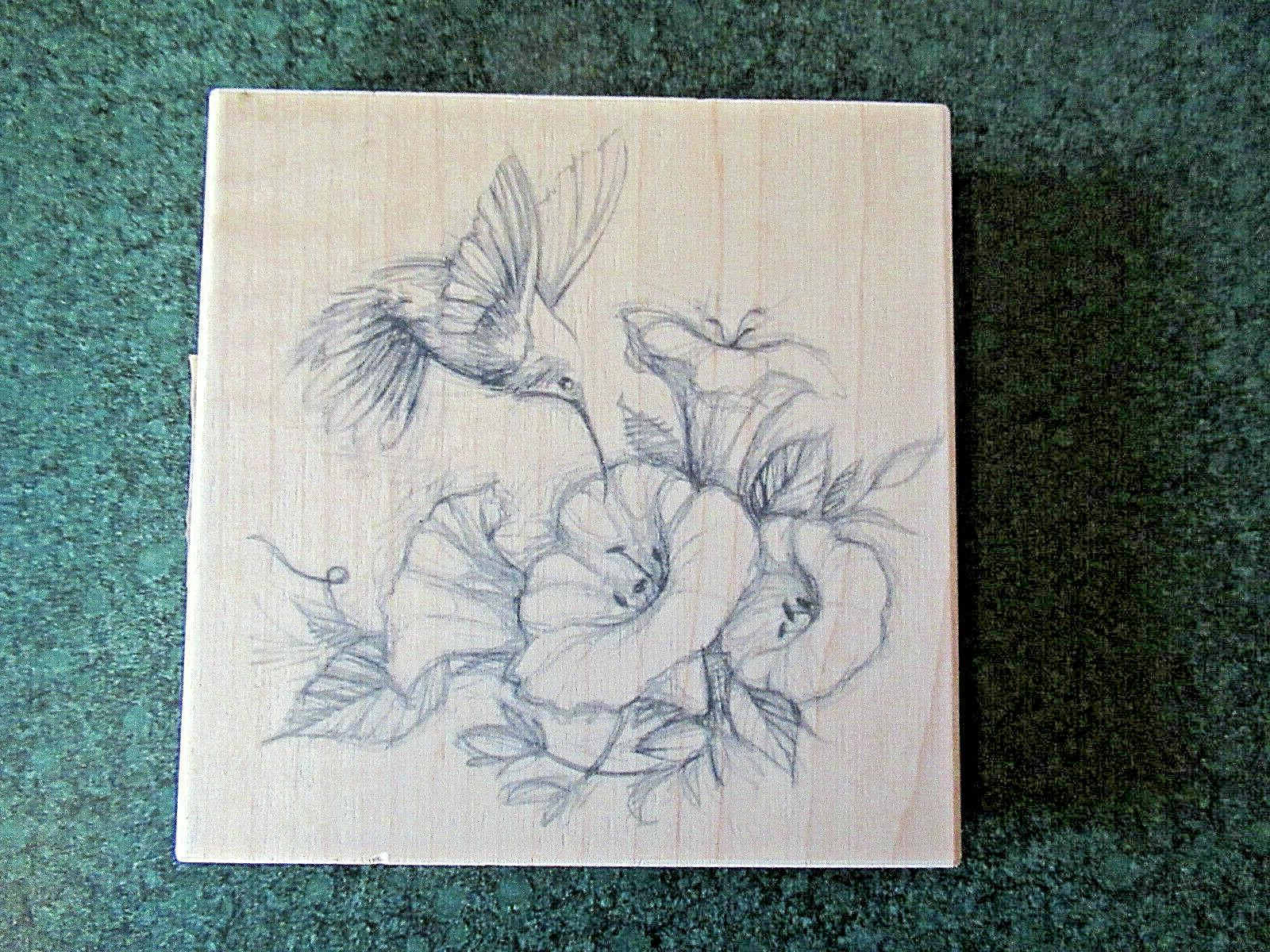new wood mounted rubber stamp hummingbird flowers