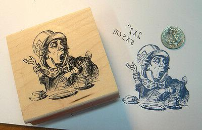 "P13 Alice in Wonderland Rubber stamp ""Mad Hatter"" WM 2x2"""