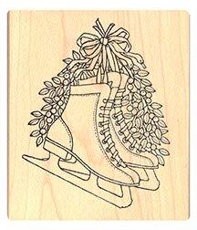 Pink Ink Stamps Pair of Skates Rubber Stamp