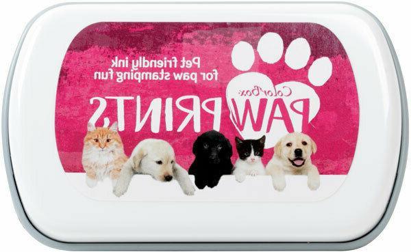 paw prints stamp pad pink pet friendly