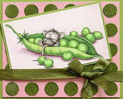 Pea Pod Nap HOUSE MOUSE Wood Mounted Rubber Stamp STAMPENDOU
