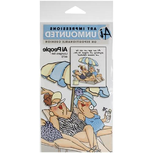 Art Impressions People Cling Rubber Stamp 7X4 -Loungers Set