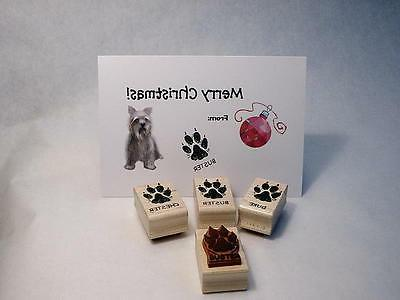 Personalized Dog Paw Print, Wood Mounted Rubber Stamp
