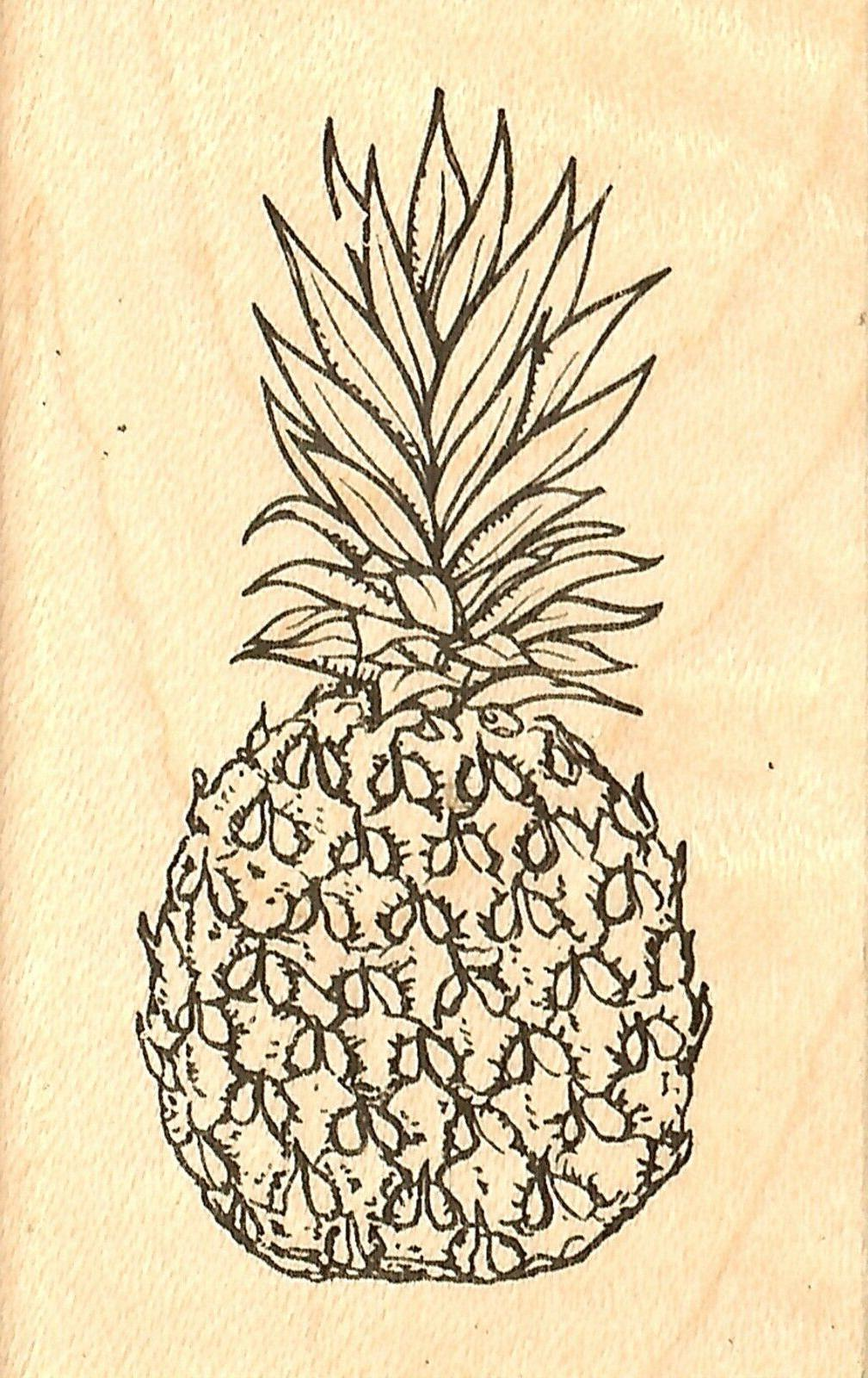 pineapple wood mounted rubber stamp new 2735d