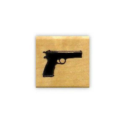 pistol mounted rubber stamp handgun gun weapon