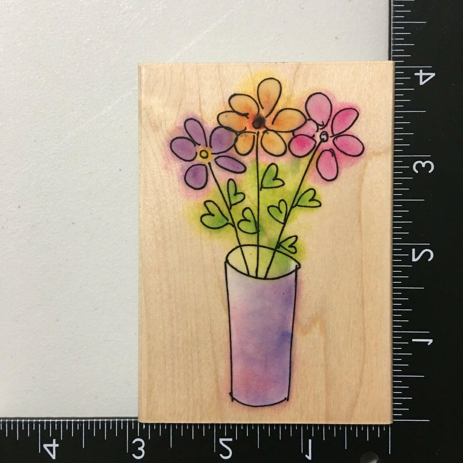 posy sketch wood mounted rubber stamp flowers