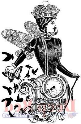 Deep Red Stamps Queen of Time Rubber Cling Stamps