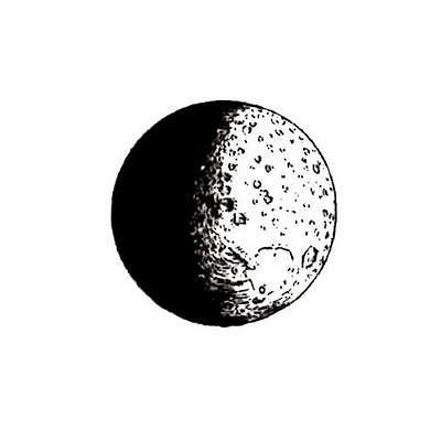 realistic MOON unmounted rubber stamp, astronomy, full moon,