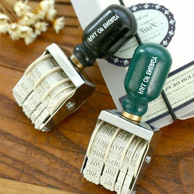 Retro Date Stamp Wood Handle Roller Seal Rubber Stamps Stati
