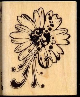 rubber stamp daisy wood mounted flower