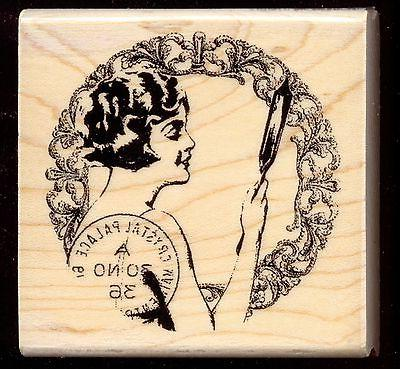rubber stamp lady with mirror wood mounted