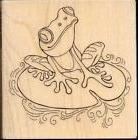 STAMPENDOUS rubber stamp PEN PATTERN FROG wood mounted  Lily