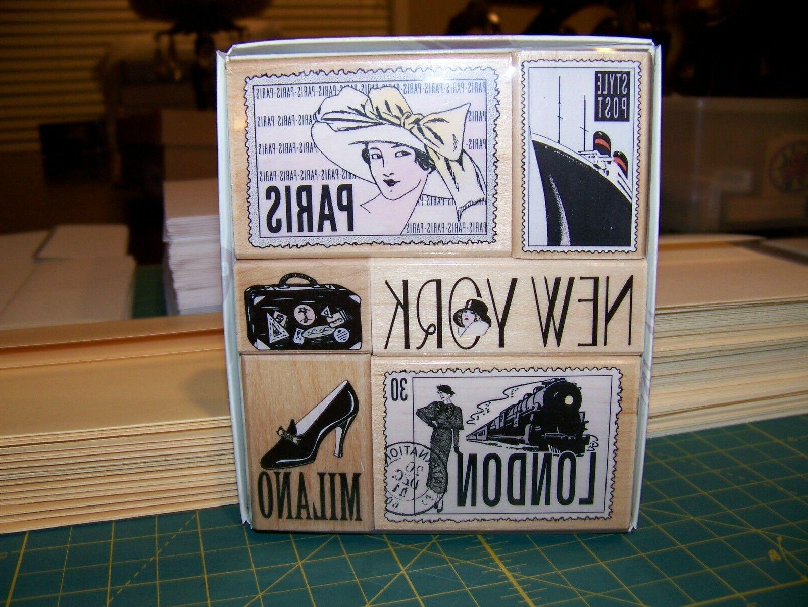 rubber stamp set travel 6 new