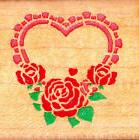 Comotion Rubber Stamp~STENCIL HEART ROSES LEAVES #119~USA Ma