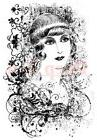 Deep Red Rubber Stamp Vintage Style Woman Portrait