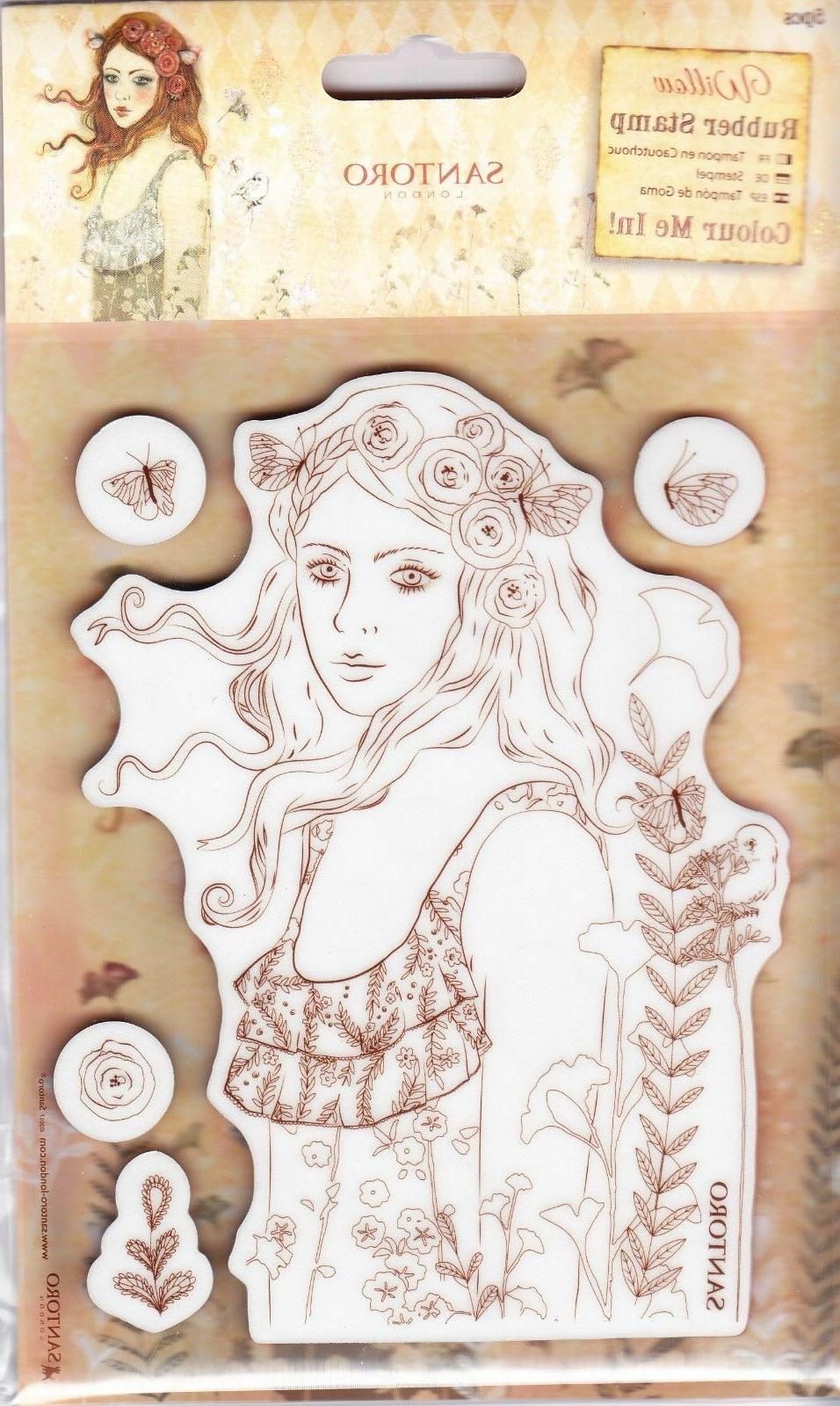 Santoro Color Me In Cling Rubber Stamp Set