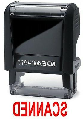 SCANNED stamp text, IDEAL 4911 Self-inking Rubber Stamp with