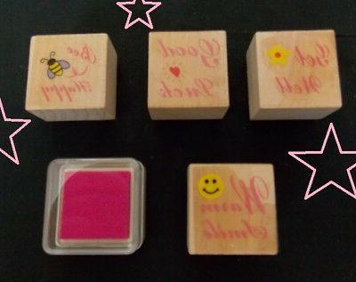 scrapbooking rubber stamp lot set w 4