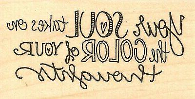 soul color saying wood mounted rubber stamp