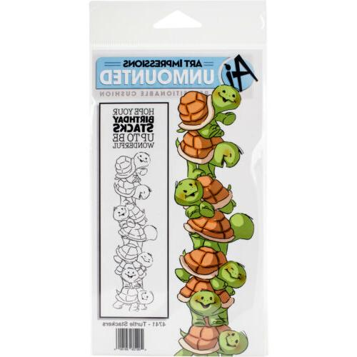 Art Impressions Stackers Cling Rubber Stamp Set 7X4-Turtle